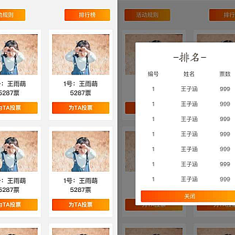 通用的投票排行榜手机页面