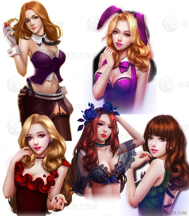 游戏美术资源/棋牌游戏美女帅哥素材 棋牌扑克麻将人物素材