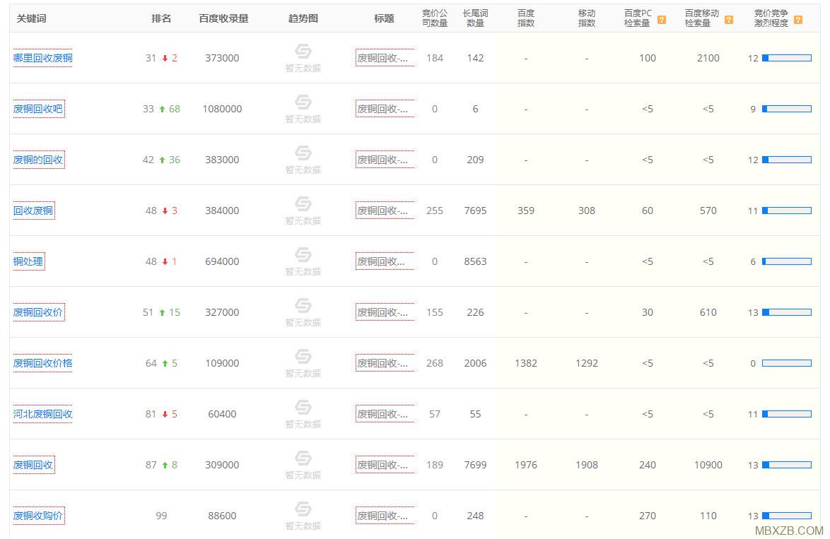 企业网站排名案例
