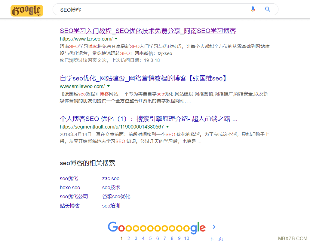 "Google搜索关键词""SEO博客""的站点排序"
